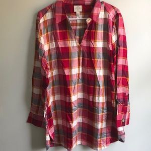 St. John's Bay Plaid Pullover Shirt XL New